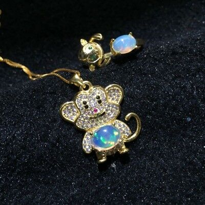 New Trendy Exquisite Silver Inlaid Monkey Natural Australian Opal Women Jewelry