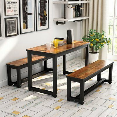 47''Apartment Dining Table Set with Two Benches 3-Piece Rustic Rectangular Table
