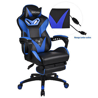 Ergonomic Office Gaming Racing Chair High Back Computer Bucket Seat Footrest