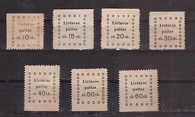 Lithuania 1919 Third Kaunas issue - Mi 20-26. Complete set. mint