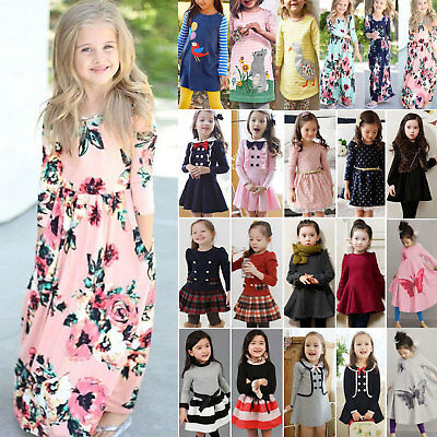 Kids Baby Girls Winter Pullover Holiday Party Princess Tutu Dresses Tops Clothes