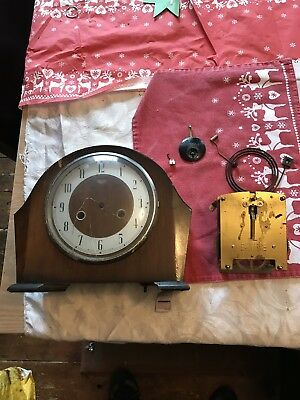 Old  Vintage Smiths Enfield Striking Mantel Clock In Need Of Restoration
