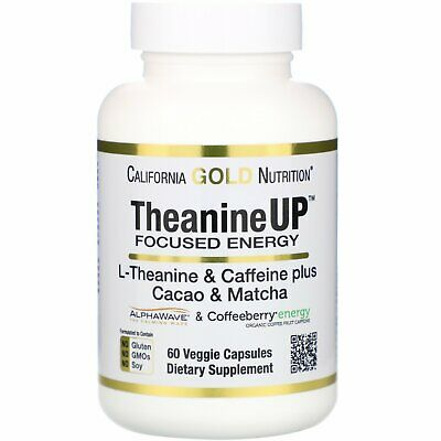 California Gold Nutrition  TheanineUP Focused Energy  L-Theanine   Caffeine  60