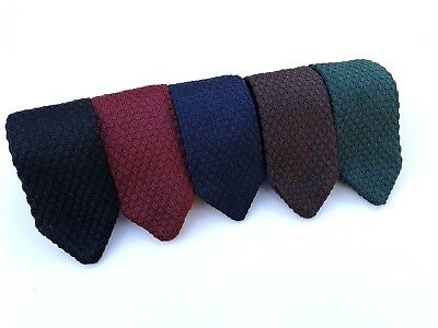 Mens Knitted Pointed Tie Skinny Ties Woven Slim Necties Maroon Navy Green Black
