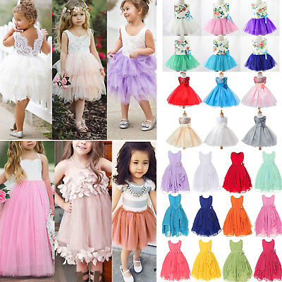 Flower Girls Bridesmaid Skater Casual Dresses Kids Summer Party Belle Age 0-12 Y