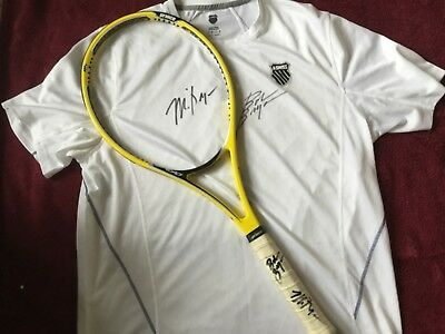 BRYAN BROTHERS SIGNED TENNIS RACKET & SHIRT Match worn Pro stock Prince 95.