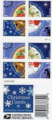 "One Book Of 20 ""christmas Carols"" Usps First Class Forever Postage Stamps B1111"