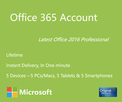 Microsoft Office 365&2016 Professional Plus 365 para Mac y Windows 5 TB Onedrive