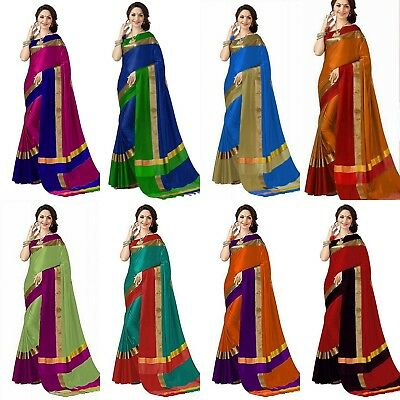Designer Kanchipuram Saree Bollywood Pakistani Traditional Cotton Silk Indian MB