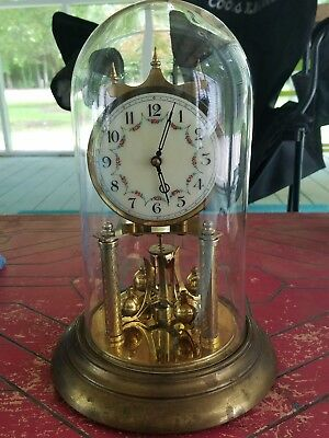Vintage Forestville Clock Co Brass & Glass Dome 400 Day German Anniversary Clock