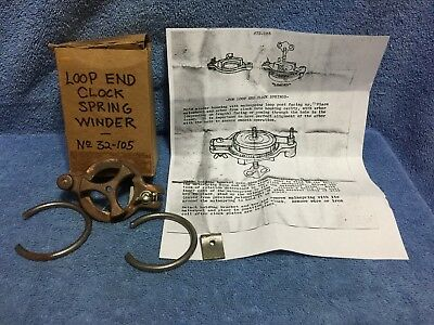 Clock Loop End Mainspring Winder with 2 mainspring clamps No 32-105