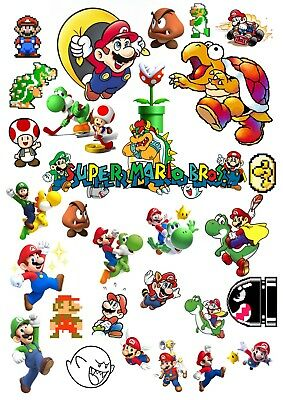 Super Mario Characters 1981 -  Present GAME Photo Poster Print ONLY Wall Art A4