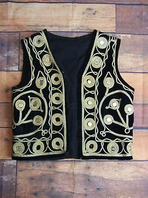 "Kids Vintage Black Velvet Mexican Mariachi Style Waistcoat 30"" Chest"