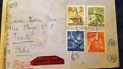 Austria 1943 Mixed Franking Cover Deutsches Reich To Trieste  Hitler Stamps Back