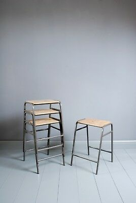 Vintage Remploy Stacking School Lab Stools - 60cm - Cafe Bar - 20 Available