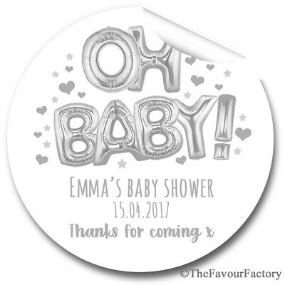 Oh Baby Foil Balloon Silver Personalised Baby Shower Favours Stickers Gloss