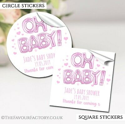 Oh Baby Foil Balloon Baby Pink Personalised Baby Shower Favours Stickers Gloss
