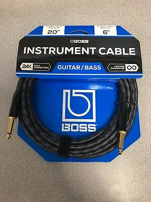 "BOSS BIC Instrument Guitar Bass Keyboard Cable 1/4"" TS Straight to Same 5 ft"