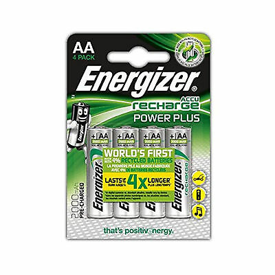4 x Energizer AA 2000 mAh Rechargeable Power Plus Batteries, Retail pack UK