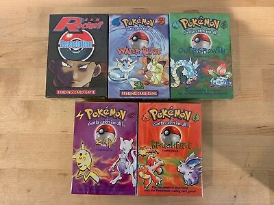 Lot of 5 Pokemon Theme Decks Factory Sealed / New BRUSHFIRE OVERGROWTH ZAP WATER