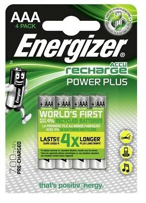 4 x Energizer AAA Rechargeable Batteries 700 mAh Pre Charged NiMH HR03
