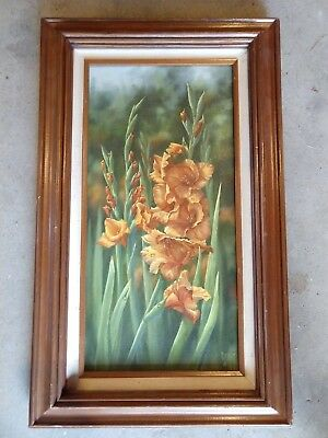 Framed oil painting of flowers By Judy Sleight