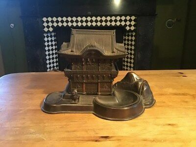 Vintage Japanese Antimony Box Pagoda style with Mt Fuji and lifting lid