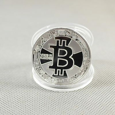 Nice Silver Plated Commemorative Bitcoin Collectible Golden Iron Miner Coin XN18
