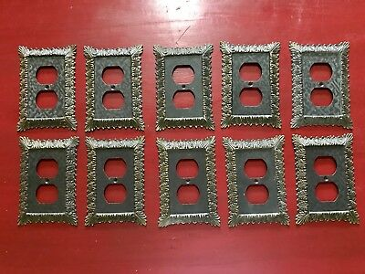 M.C.Co. 3025 Vintage Metal Brass Outlet Covers Ornate Acanthus MCC Lot of 10