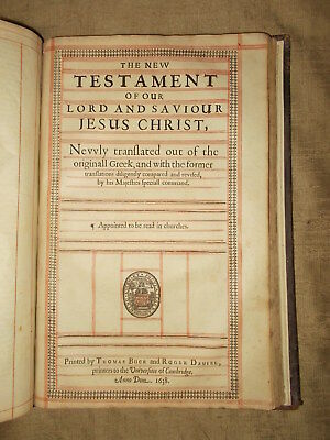 1638 KING JAMES Bible Cambridge Folio Leather Bound Important Edition