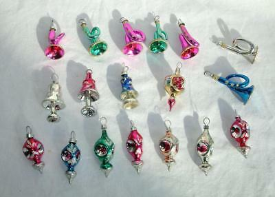 LOT of (18) Vtg SMALL Mercury GLASS Christmas  FEATHER Tree ORNAMENTS GORGEOUS