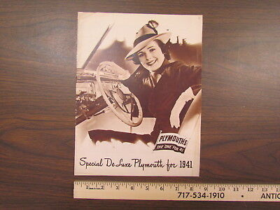 Vintage 1941 Plymouth Special DeLuxe car catalog / brochure (incl. pickup truck)