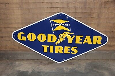 "1950s Original Goodyear Tires Single Sided Porcelain Advertising Sign ""VI-51"""