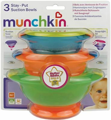 Munchkin BABY STAY PUT SUCTION BOWLS Toddler/Child Feeding Weaning Set BN