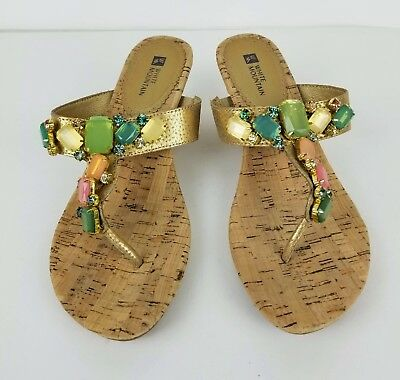 e7d05a6b8fd White Mountain Leather Jeweled Colored Bling Flip Flops Wedge Sandals Size  8.5