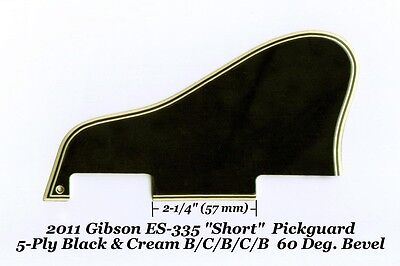 ES-335 SHORT 2011 Pickguard 5-Ply Black & Cream 60 Deg for Gibson Guitar Project