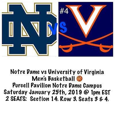 2 Notre Dame Vs Virginia Mens Basketball Tickets