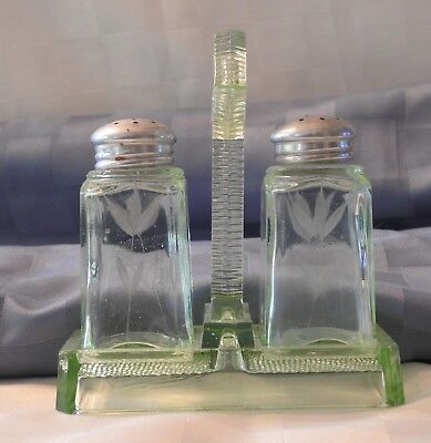 Vintage Green Depression Glass Art Decosalt & pepper shakers with tray 1930's