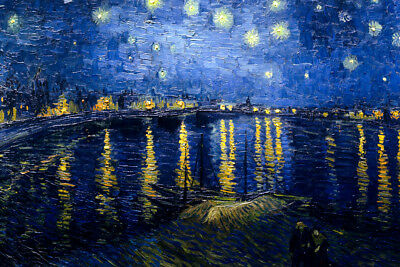 Vincent van Gogh Starry Night Over the Rhone 1888 Painting Art Poster 18x12
