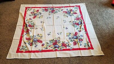 "Vintage 1940's 1950's Floral Tablecloth 48"" by 54"""
