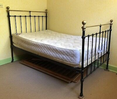 Gorgeous Queen Size Victorian cast iron and brass With Base & Mattress Antique