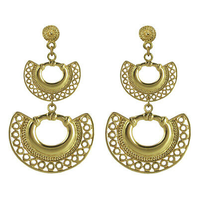 ACROSS THE PUDDLE 24k Gold Plated Pre-Columbian Double Nose Ring Dangle Earrings