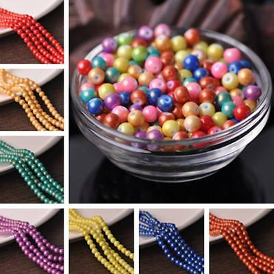 Wholesale 6mm Foil Coated Opaque Round Loose Spacer Glass Beads Jewelry Making