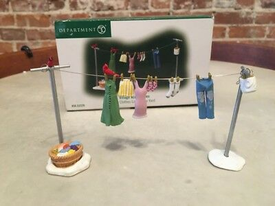 Dept 56 Clothes Line in Yard Village Accessory Snow 53329 Retired Mint