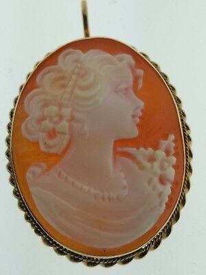 Gorgeous Vintage 14K Yellow Gold Carved Shell Cameo Pendant Brooch #19818101