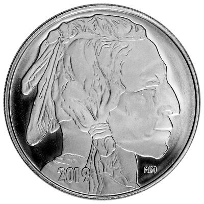 2019 Highland Mint Buffalo Nickel Design 1 oz Silver Round GEM BU SKU56427