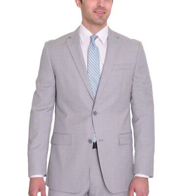 Bar III Slim Fit Light Gray Twill Two Button Wool Suit