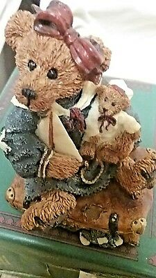 """BOYDS BEAR BEARSTONE BAILEY BEAR WITH SUITCASE """"a journey .. begins with a singl"""
