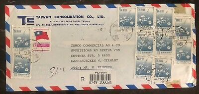 1989 Taipei Taiwan China Commercial Airmail Cover To Saarbruecken W Germany