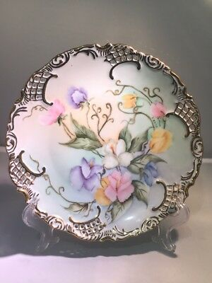 Vintage Ornate Gold Trim Hand Painted Plate Signed